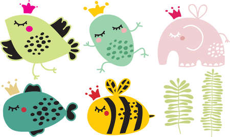 Cute animals in crown set. Vector illustration.