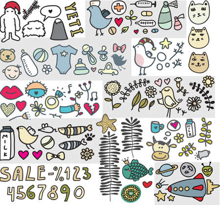Mix of doodle images in vector. vol. 4 Vector