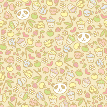 Cute panda seamless pattern, vector doodle illustration. Vector