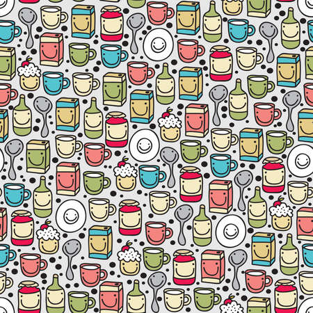 Dishes and food seamless pattern. Vector doodle illustration. Vector