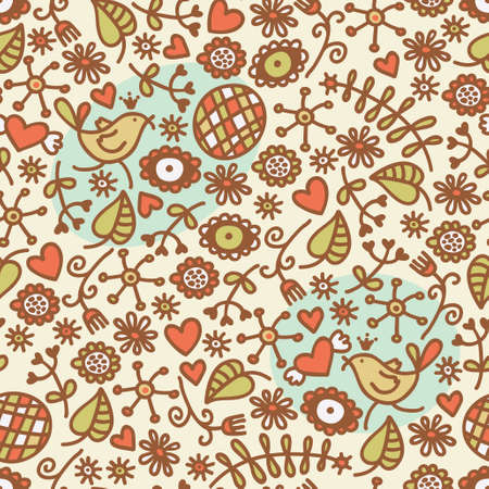 Seamless pattern with romantic birds in crown, hearts and flora. Vector doodle illustration. Vector