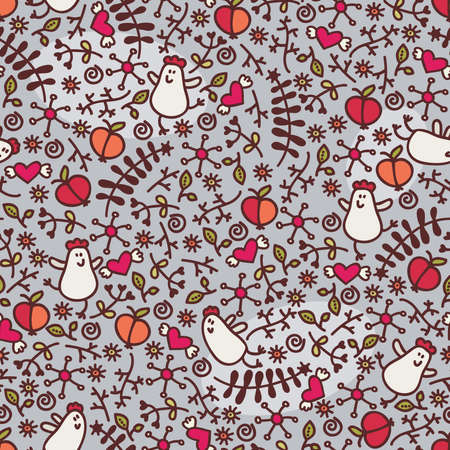 Seamless pattern with romantic chickens, hearts and flora. Vector doodle illustration. Vector