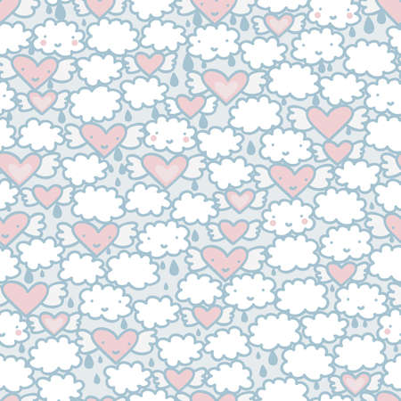 Seamless pattern with hearts and clouds. Vector doodle illustration. Vector