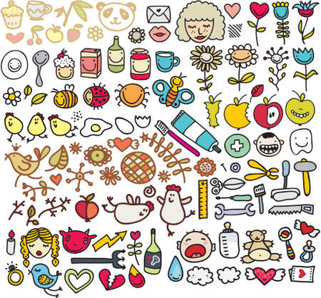 Mix of doodle images in vector. vol. 5 Vector