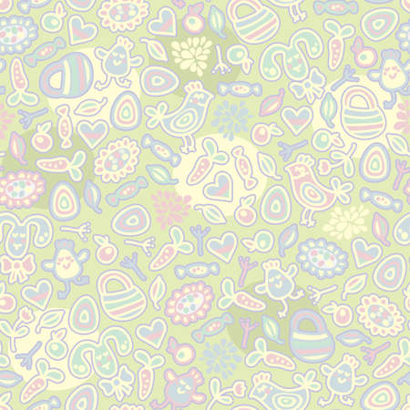 drawing on the fabric: Easter nice seamless pattern. Vector doodle illustration.