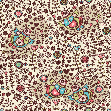 Seamless pattern with romantic birds in folk style. Vector doodle illustration. Vector