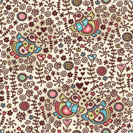folk art: Seamless pattern with romantic birds in folk style. Vector doodle illustration.