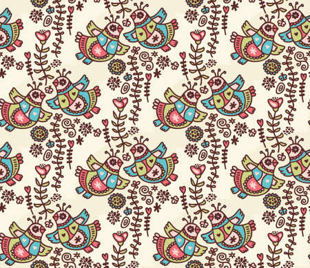 Seamless pattern with folk birds, hearts and flora. Vector doodle illustration. Vector