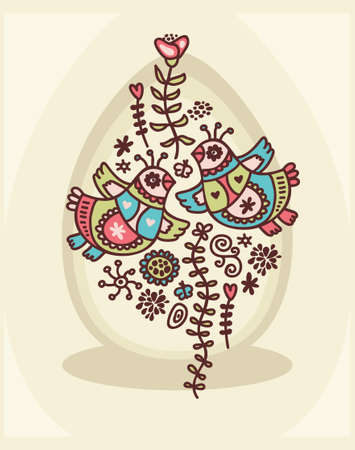 Easter greetings card with birds. Vector doodle illustration. Vector