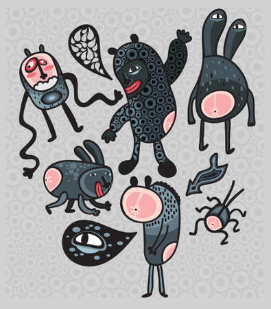 Crazy cartoon monsters. Vector illustration. Vector