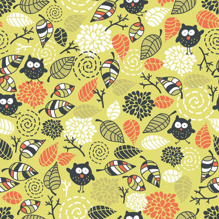 Seamless pattern with owls and floral elements. Vector doodle illustration.