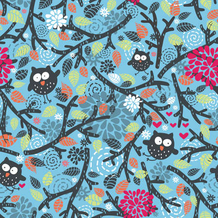 Seamless pattern with owls and floral elements on blue. Vector doodle illustration. Illustration
