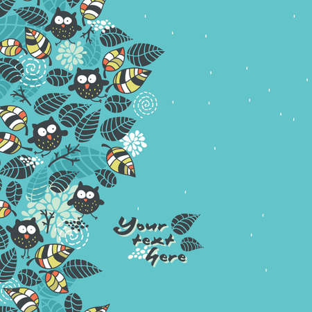 Seamless pattern with owls and flora. Vector doodle illustration.
