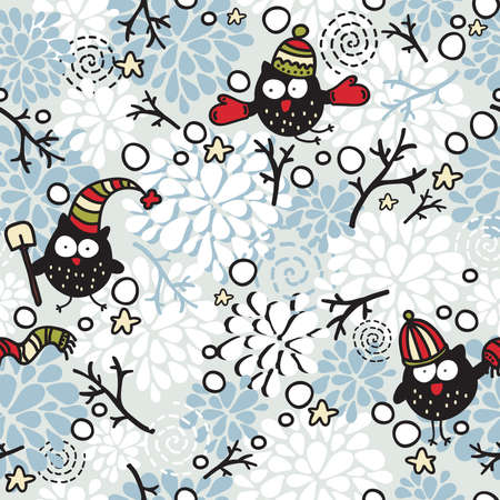 Winter seamless pattern with owl and snow. Vector doodle illustration for Christmas. Vector