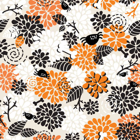 Seamless pattern for the better halloween. Vector doodle illustration.