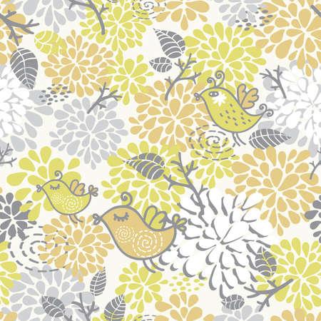 Patrón sin fisuras con las aves elementos florales. Vector ilustración de dibujo. Ilustración de vector