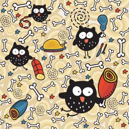 Seamless pattern with meat and owl. Vector doodle illustration.