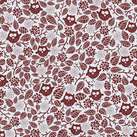 creative beauty: Seamless pattern with small owls and floral elements. Vector doodle illustration.