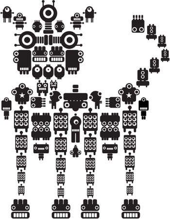 The monster made of small robots #2. Vector