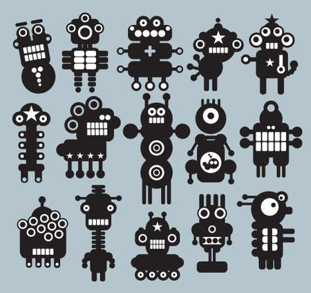 Robots, monsters, aliens collection #7. Vector illustration. Vector