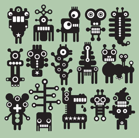 Robots, monsters, aliens collection #8. Vector illustration. Vector