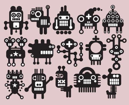 dientes caricatura: Robots, monstruos, extraterrestres colecci�n n � 9. Ilustraci�n del vector. Vectores