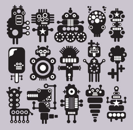 Robots, monsters, aliens collection #10. Vector illustration. Vector