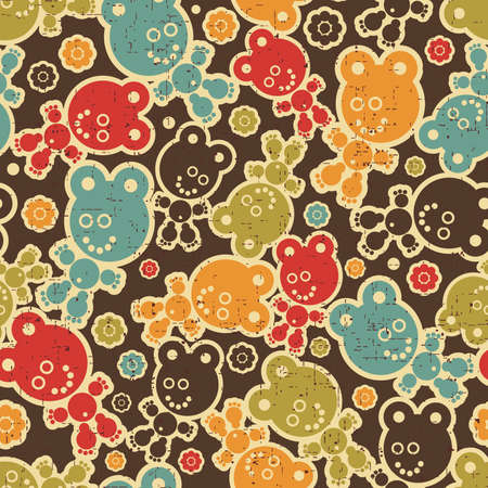 Teddy bear monster seamless pattern. Vector illustration. Vector