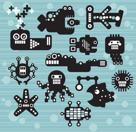 Vector animals: Robot và quái vật thu # 12. Vector hình minh họa của các loài động vật biển và cá. Hình minh hoạ
