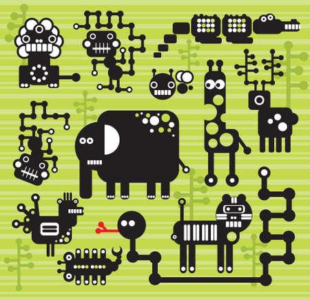 Los robots y monstruos de la colecci�n # 13. Ilustraci�n vectorial de los animales de �frica y los insectos.