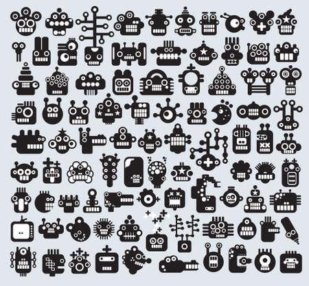 funny robot: Big ensemble des monstres et des visages des robots. Vector illustration.