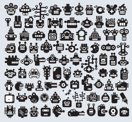 robot cartoon: Big set of monsters and robots faces. Vector illustration.