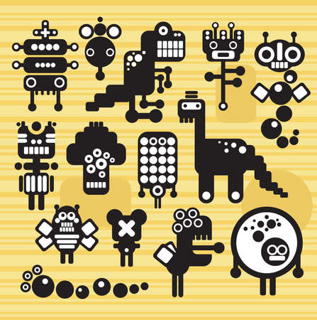 Robots and monsters collection #15. Vector illustration. Vector
