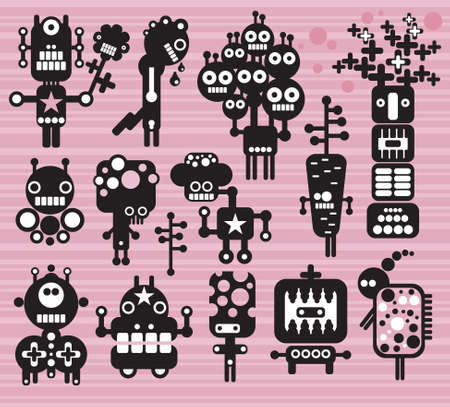 Robots and monsters collection #14. Vector illustration. Vector