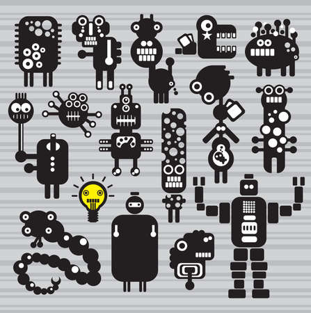 Monsters and robots collection #16. Vector illustration. Vector