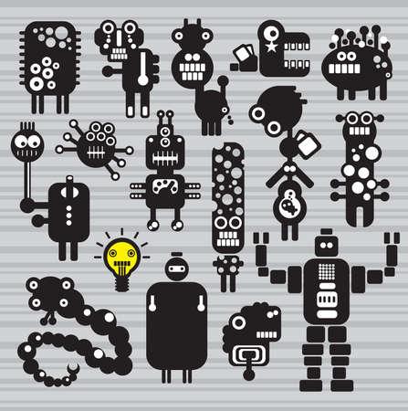 bras robot: Monstres et la collecte des robots # 16. Vector illustration.