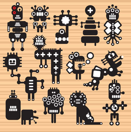 Monsters and robots collection #17. Vector illustration. Vector
