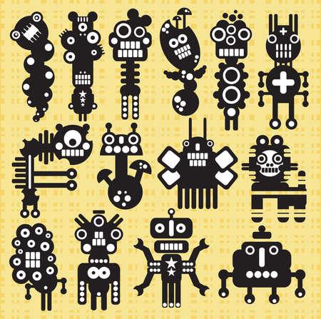 shapes cartoon: Los monstruos y los robots de recogida # 19. Ilustraci�n del vector.