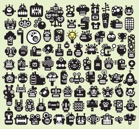 Big set of monsters and robots faces #2. Vector illustration.