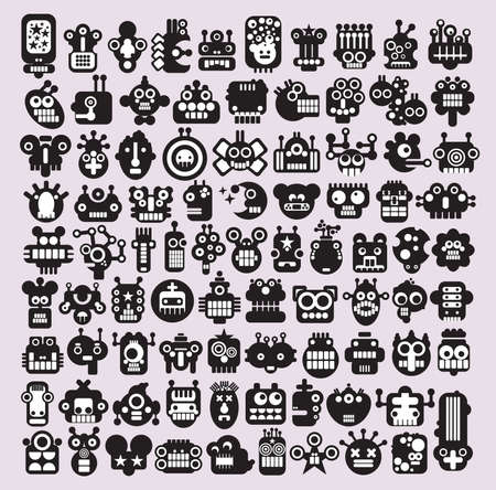 Big set of icons with monsters and robots faces #3. Vector illustration. Illustration