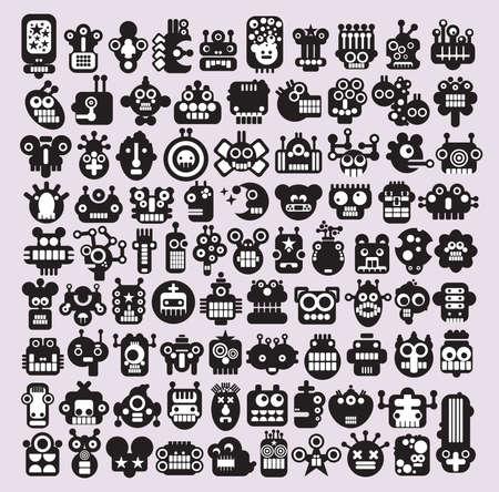 Gran conjunto de iconos con los monstruos y los robots se enfrenta a # 3. Ilustración del vector. Ilustración de vector