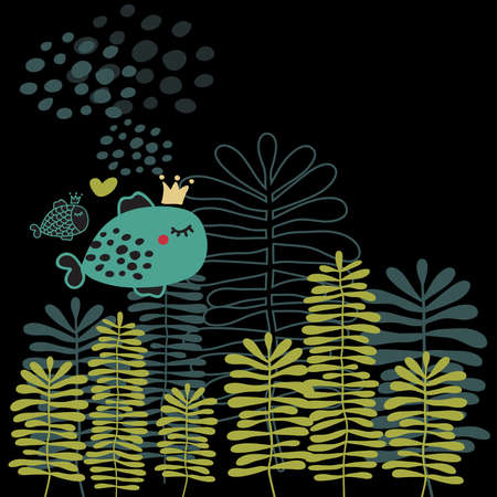 aquatic plants: Summer card with fish and heart. Vector doodle background.