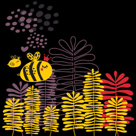 Summer card with bee and heart. Vector doodle background. Vector
