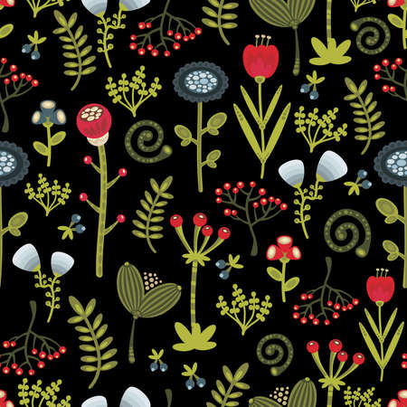 Floral seamless pattern with cartoon flowers. Vector beautiful texture. Vector