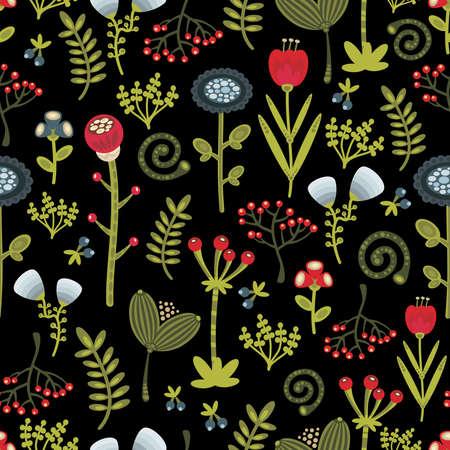 folk art: Floral seamless pattern with cartoon flowers. Vector beautiful texture.