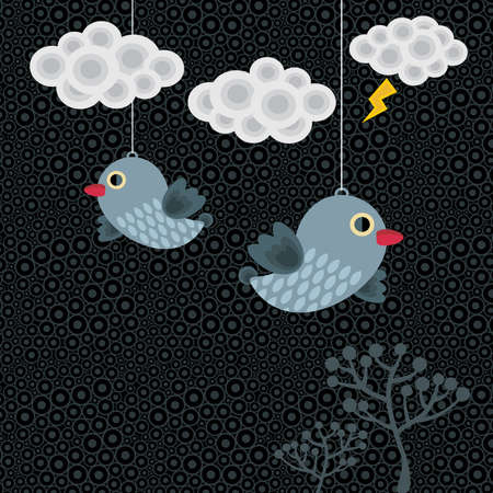 Abstract background with birds in clouds. Vector illustration. Stock Vector - 11749348