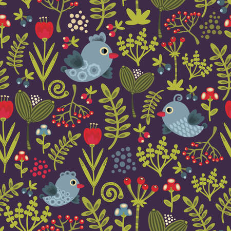 Colorful seamless pattern with birds and flowers. Vector illustration of nature Vector