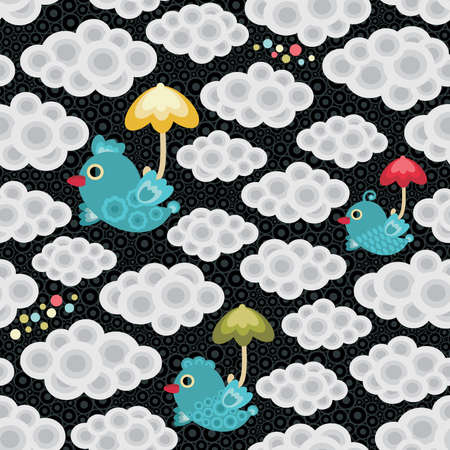 Rain seamless pattern with bird and umbrella . Vector background. Vector