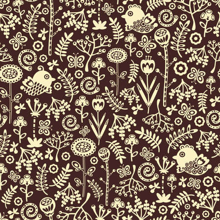 Seamless pattern with decorative birds, hearts and flowers. Vector doodle texture. Vector