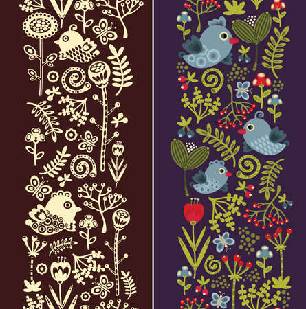 Two seamless vertical patterns with bird, leaves and flowers. Vector texture.